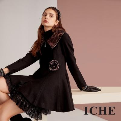 ICHE 衣哲 大翻領蕾絲羊毛印花造型外套洋裝(兩穿)-墨黑