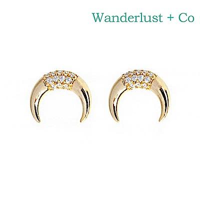 Wanderlust+Co 澳洲時尚品牌 LUNA PAVE立體新月造型鑲嵌水晶耳環 金色