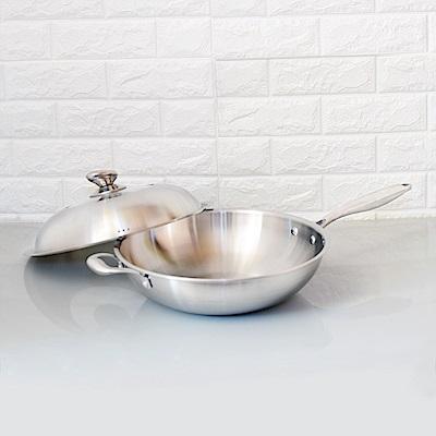 頂尖廚師 頂級白晶316不鏽鋼深型炒鍋38公分 贈鍋鏟