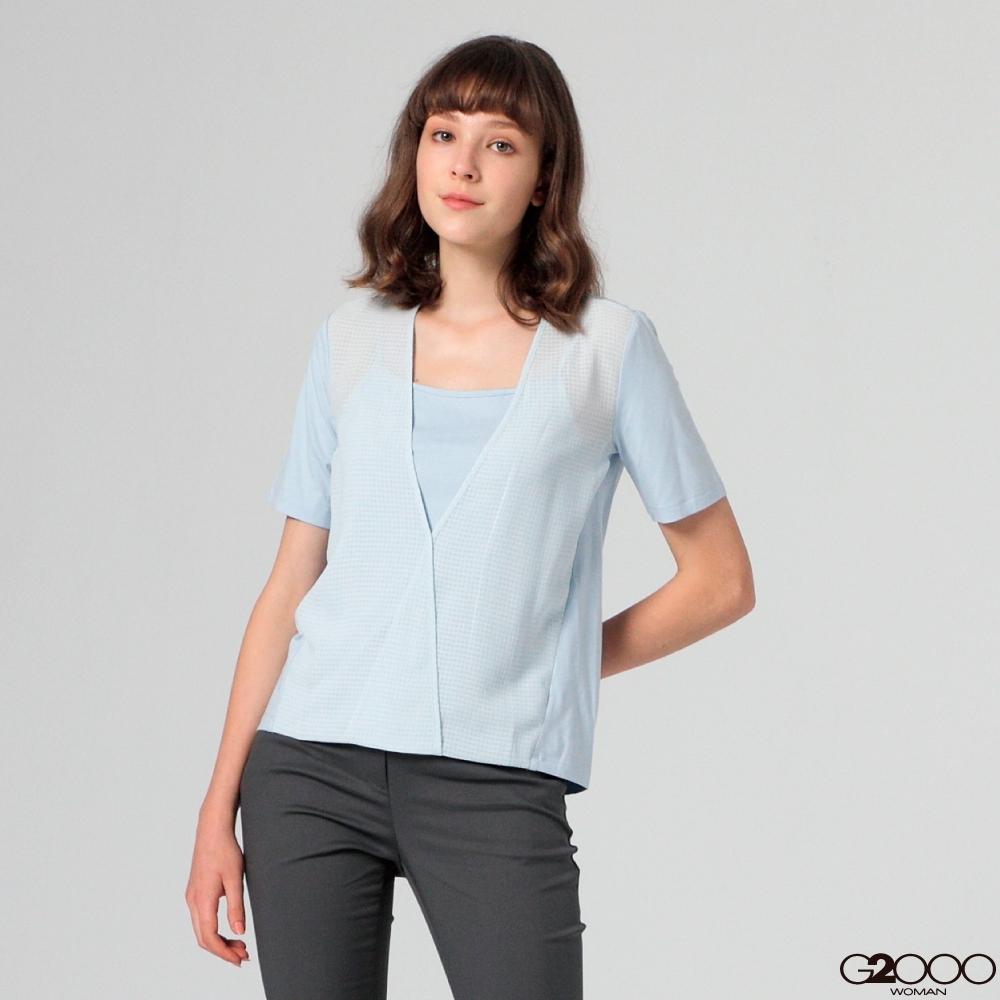 G2000印花短袖休閒T恤-水藍色