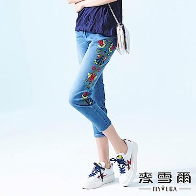 【麥雪爾】棉質花藤刺繡刷白牛仔褲