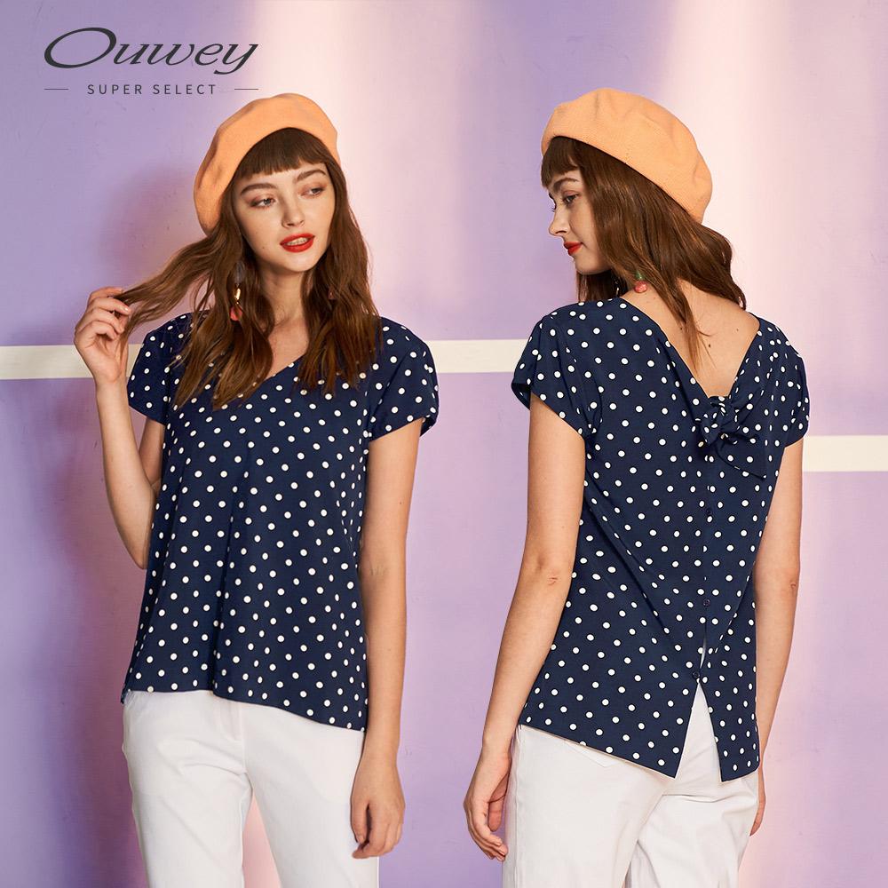OUWEY歐薇 點點印花雙V領上衣(藍)