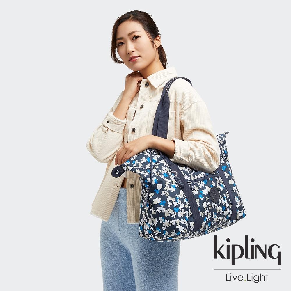 Kipling 清新手繪碎花手提側背包-ART M