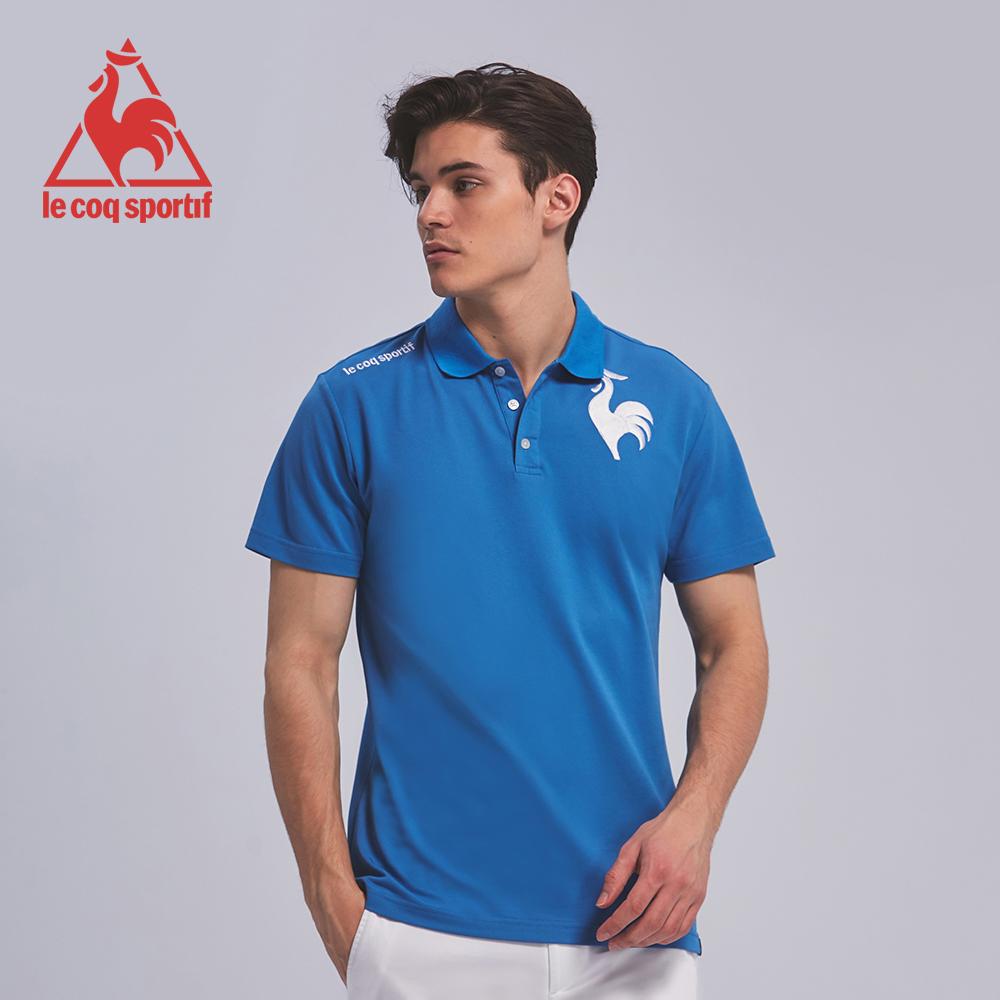 le coq sportif 法國公雞牌左胸公雞繡花短袖POLO衫 男-灰藍