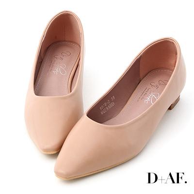 D+AF 純色時尚.素面微尖頭低跟鞋*粉