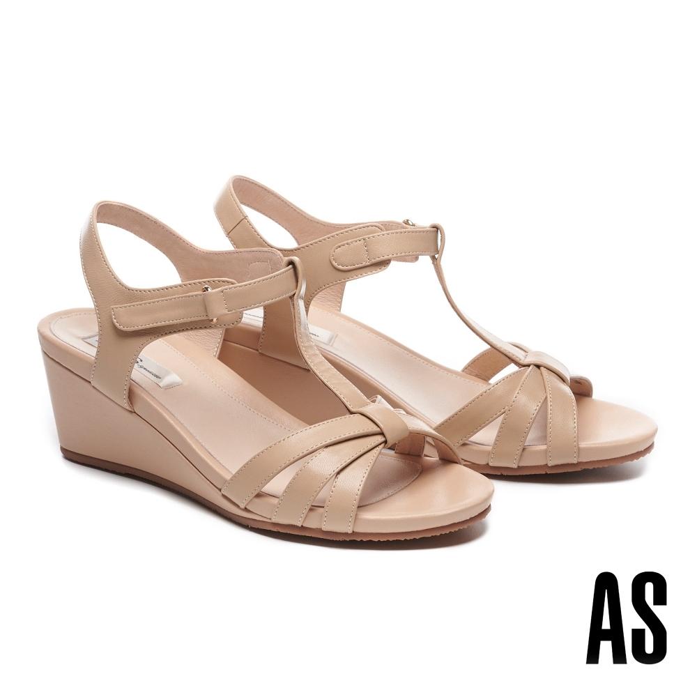 涼鞋 AS 簡約典雅交叉繫帶羊皮楔型高跟涼鞋-米