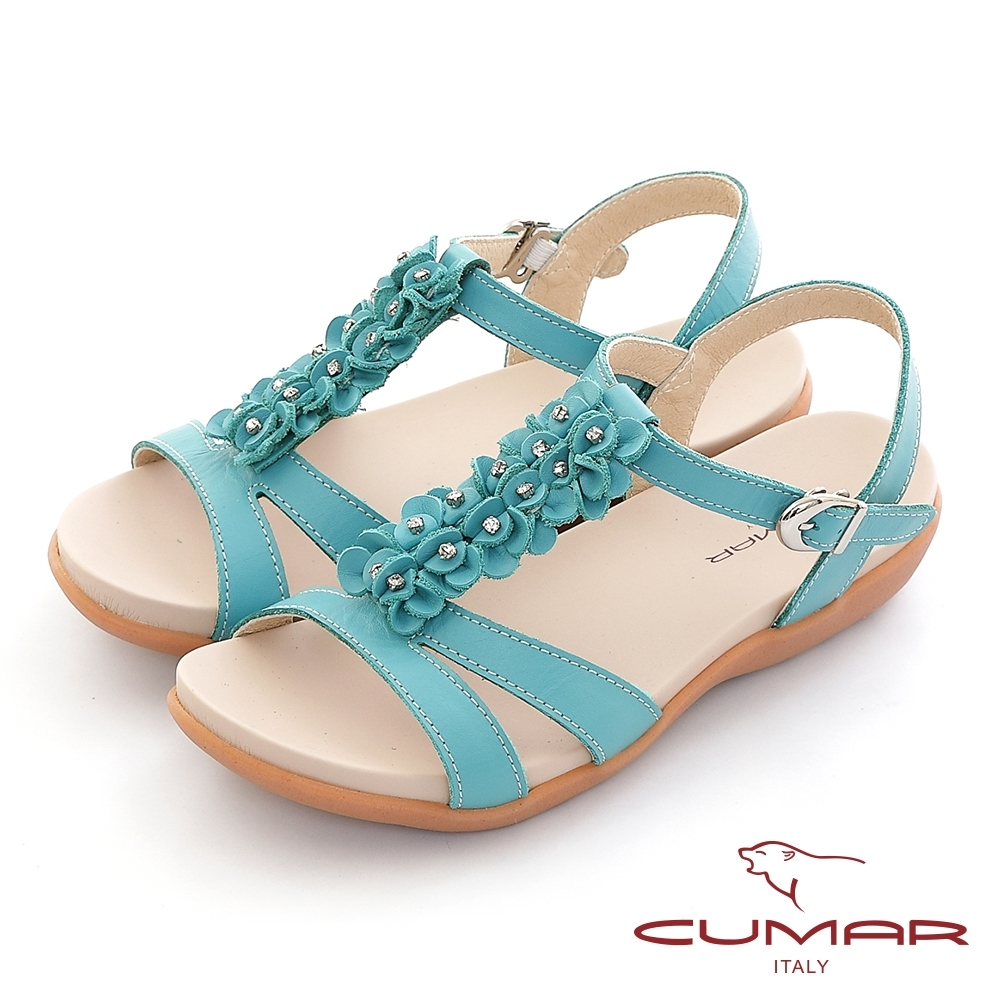 【CUMAR】立體花朵裝飾腳床式涼鞋-水藍