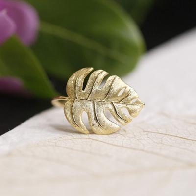 東方美學文藝森系龜背葉925純銀開口戒指-設計所在