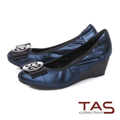 TAS優雅飾花蝴蝶結楔型娃娃鞋-沉穩藍