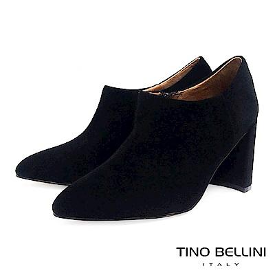 Tino Bellini女人味羊麂皮尖楦高跟踝靴_黑