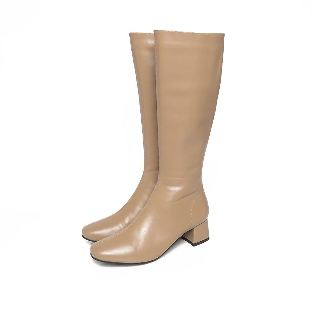 KOKKO顯瘦感方頭拉鍊小牛皮粗跟長靴奶茶色