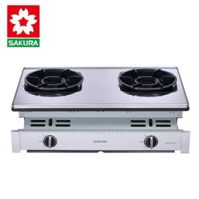 櫻花牌 G6902S 聚熱焱雙炫火不鏽鋼崁入式二口瓦斯爐(桶裝)