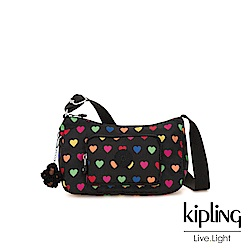 Kipling 繽紛愛心雙拉鍊口袋側背包-SAMARA