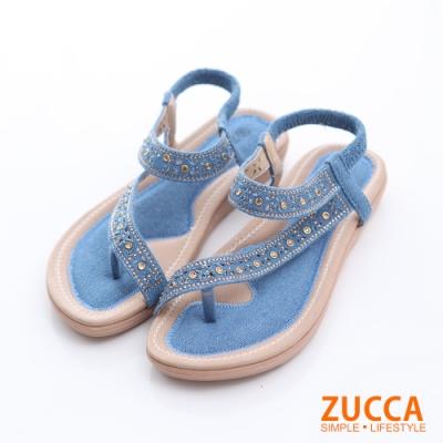 ZUCCA-金屬羅紋T字夾腳涼鞋-藍-z6306db
