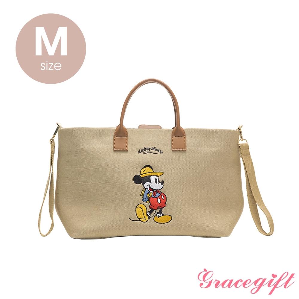 Disney collection by grace gift–唐葳設計迪士尼米奇露營2WAY帆布包M 奶茶色