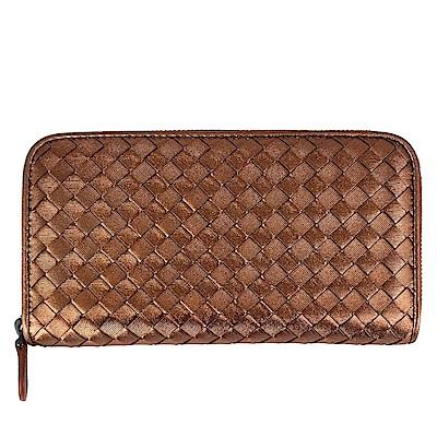 BOTTEGA VENETA 經典手工編織羊皮拉鍊長夾(古銅金色)