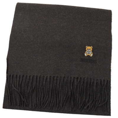 MOSCHINO 刺繡小熊圖樣羊毛圍巾(深咖)