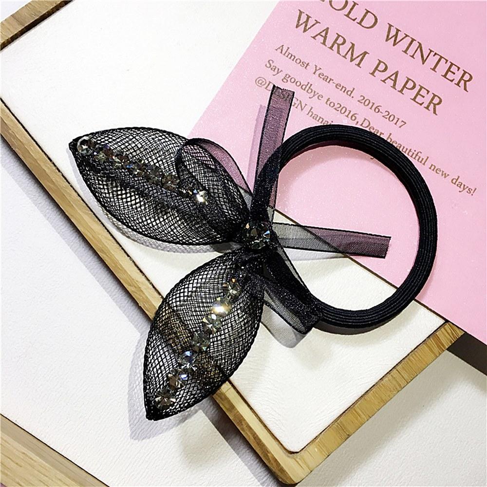 梨花HaNA 韓國立體貼鑽網紗兔耳朵蕾絲髮圈/髮箍