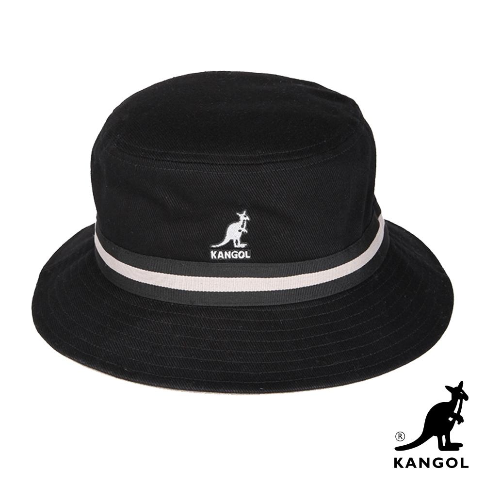 KANGOL-STRIPE水洗棉質漁夫帽-黑色