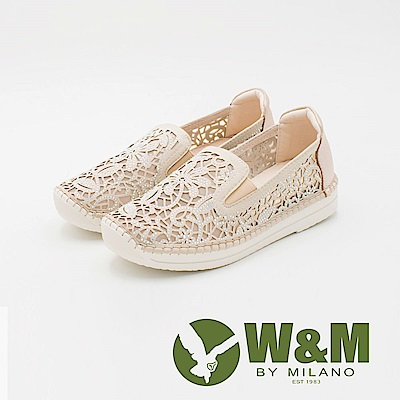 W&M 法系優雅 花朵簍空鑲鑽休閒 女鞋-金(另有黑)