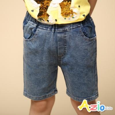 Azio Kids 男童 短褲 基本款鬆緊牛仔短褲(藍)