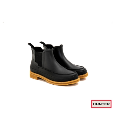 HUNTER - 男鞋 - Original MOC TOE輕量切爾西霧面踝靴 - 黑