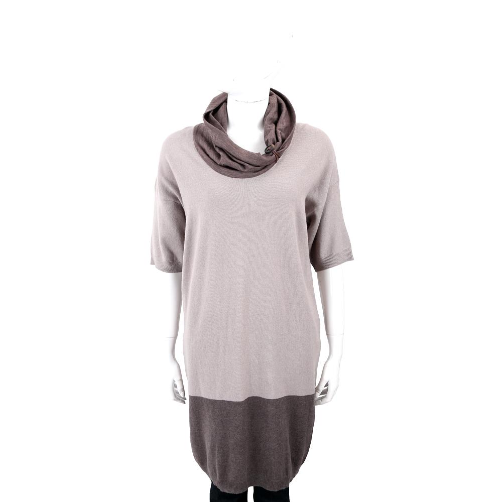 FABIANA FILIPPI 羊毛撞色高領可可灰長版針織衫