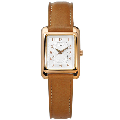 TIMEX 天美時 美國品牌 復刻 日常生活防水 真皮手錶-銀白x玫瑰金框x褐/25mm
