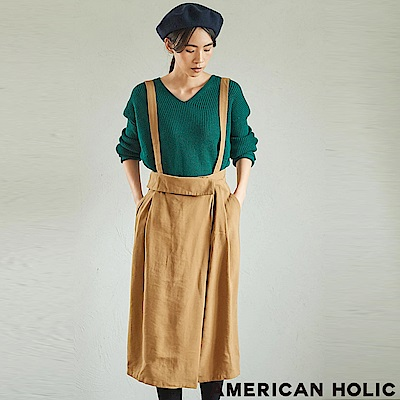 AMERICAN HOLIC 腰際前扣設計吊帶裙