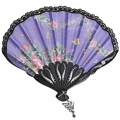 ANNA SUI 優雅花素圖騰蕾絲滾邊氣質扇(紫/黑邊)