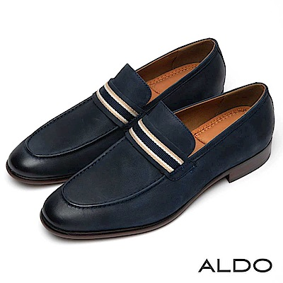 ALDO 真皮佐條紋釦帶尖頭男樂福鞋~海軍藍色