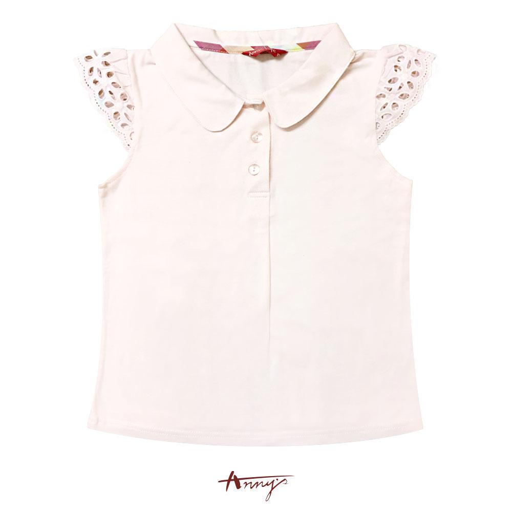 Annys花朵蕾絲透視袖翻領單排釦短袖上衣*7338粉