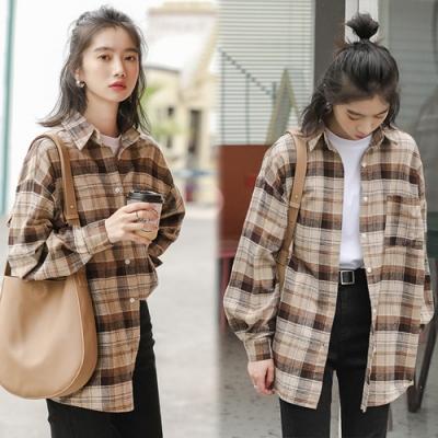 【韓國K.W.】(預購)韓新品復古格紋襯衫外套-1色