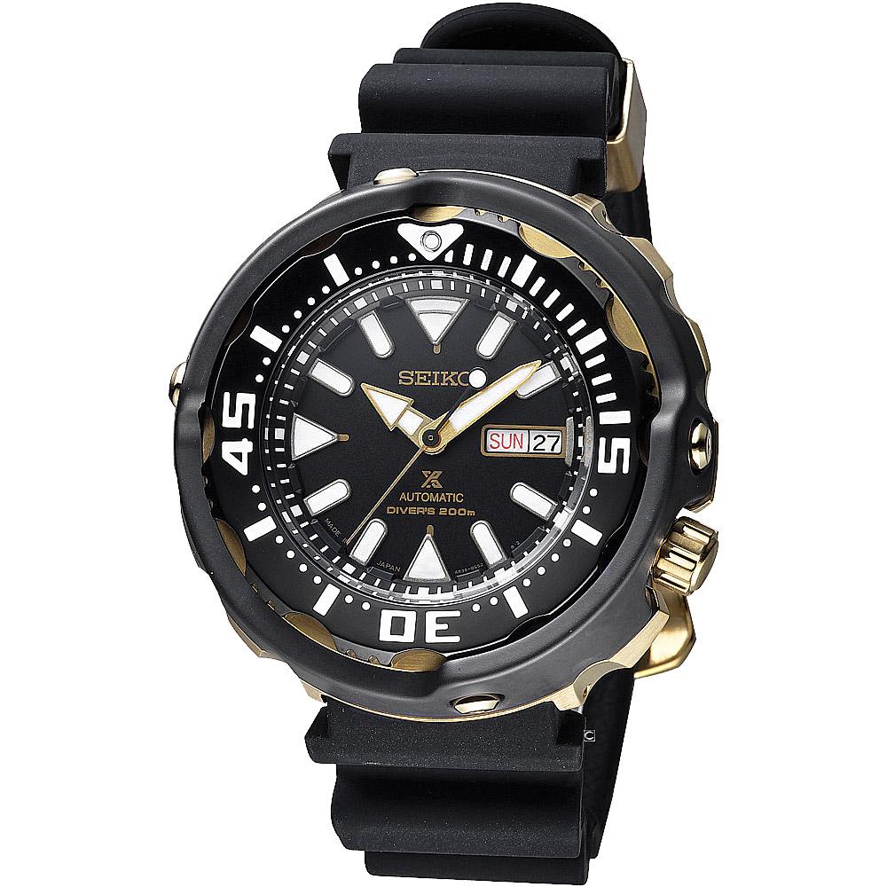 SEIKO 精工 Prospex SCUBA 潛水機械錶( SRPA82J1)-黑x金