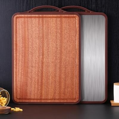 PUSH!廚房用品抗菌304不銹鋼烏檀木雙面砧板切菜板全包邊案板擀麵板D274