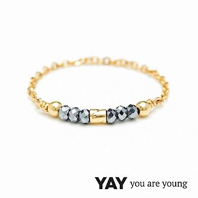 YAY You Are Young 法國品牌 Cleo 灰寶石戒指 迷你款 金色