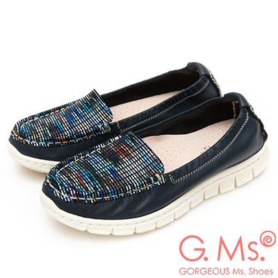 G.Ms. MIT極輕量-牛皮釉彩格紋莫卡辛休閒鞋-寶藍