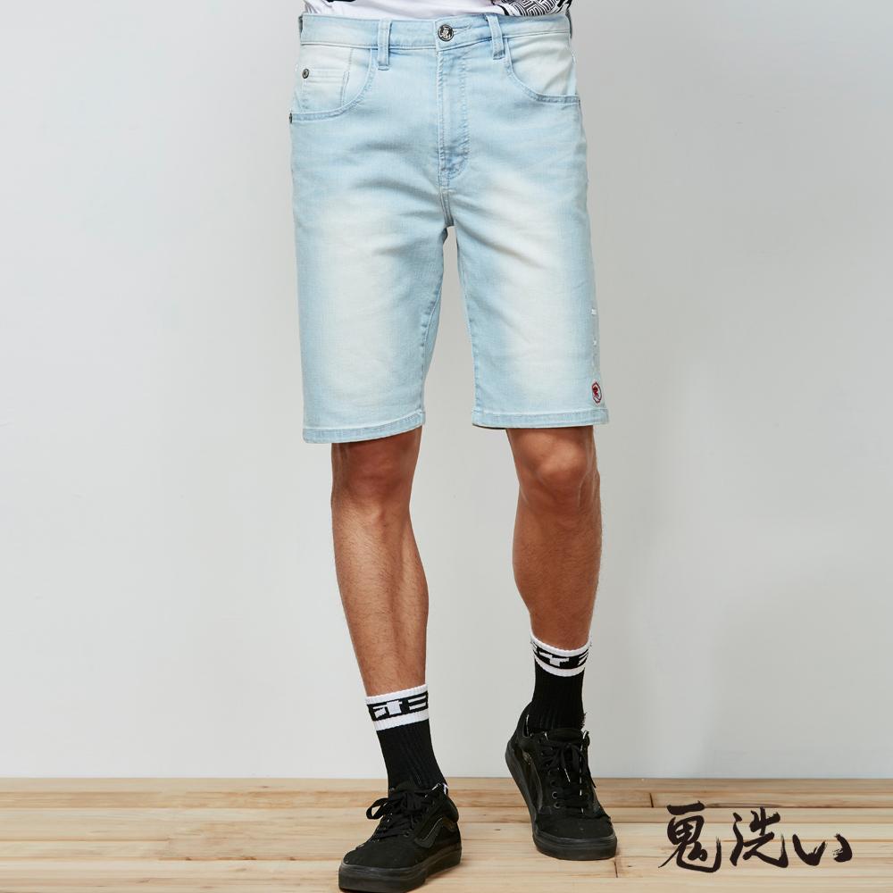 鬼洗 BLUE WAY 鬼洗激輕涼爽繡字短褲(淺藍)