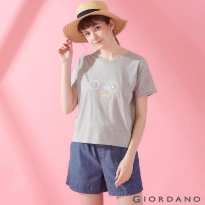 GIORDANO 女裝英文圖案刺繡短袖寬版T恤-03 中花灰
