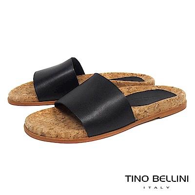 Tino Bellini 西班牙進口牛皮寬帶平底涼拖鞋_ 黑