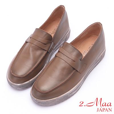2.Maa (偏大)復古仿舊刷色厚底牛皮樂福鞋 - 咖啡