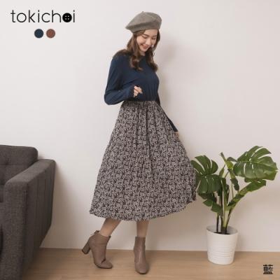 東京著衣 甜美氣息素面圓領拼接碎花雪紡洋裝(共二色)