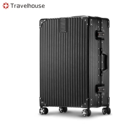 Travelhouse 旅遊邊界 20吋鋁框行李箱(太空黑)