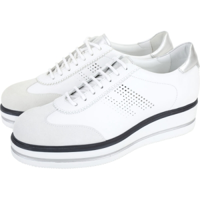 HOGAN H323 Route H穿孔拼接麂皮繫帶厚底鞋(白色)