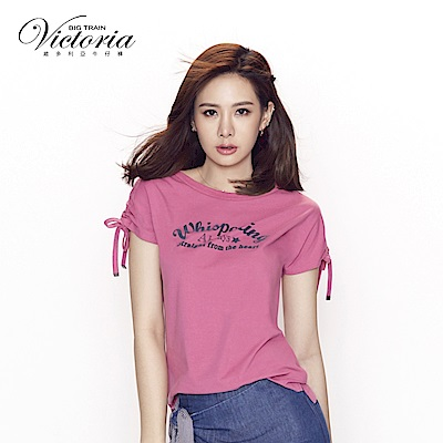 Victoria 肩線抽繩短設計短袖T-女-霧紫粉