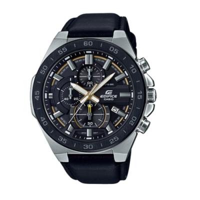 CASIO卡西歐 商務三眼高科技賽車皮革男腕錶(EFR-564BL-1A)-藍x48mm