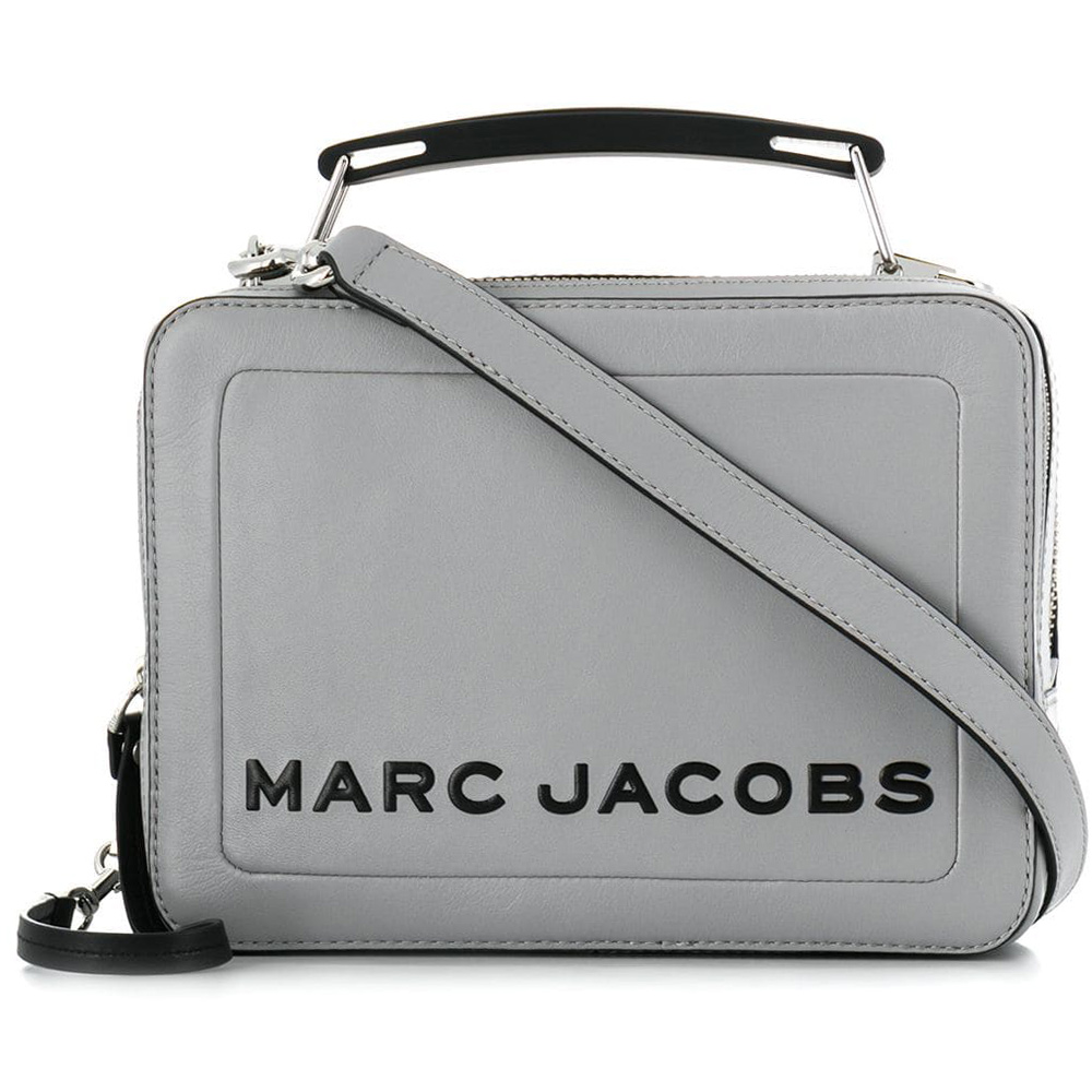 MARC JACOBS THE BOX 23 雙拉鍊牛皮手提/肩背兩用包(羊絨灰)