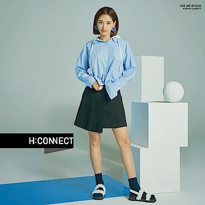 H:CONNECT 韓國品牌 女裝-百摺拼接短裙-黑