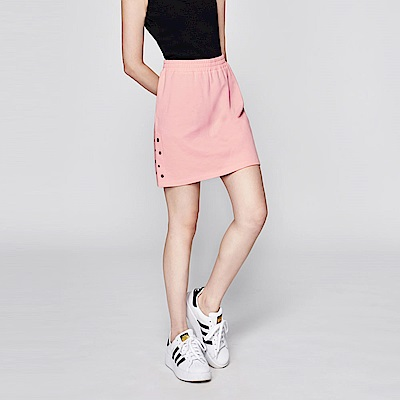 SUITANGTANG 側邊造型純棉短裙-粉