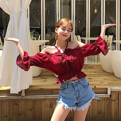 DABI韓國俏皮少女風性感露肩喇叭袖時尚襯衫長袖上衣